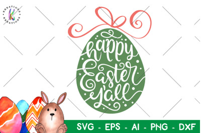 Happy Easter y'all svg Hand Drawn Egg svg