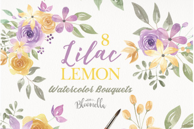 Watercolor Lilac Lemon Flowers Purple Floral Arrangements Bouquets Pai