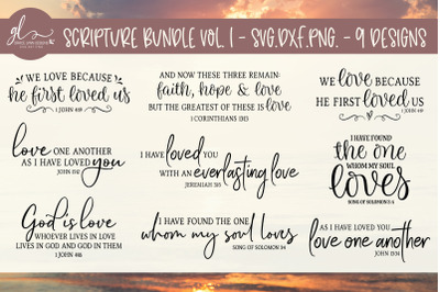 Scripture Bundle Vol. 1 - 9 Designs - SVG, DXF & PNG