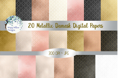 Metallic Damask Digital Paper Pack