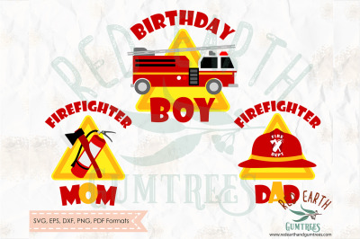 Fireman birthday theme, firefighter SVG, PNG, EPS, DXF, PDF