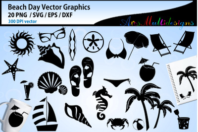 Beach day vector graphics / beach day silhouette svg doodle