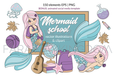 MERMAID SCHOOL Underwater Vector Illustration Animation Set