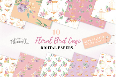 Birdcage Seamless Patterns Floral Watercolour Flower Digital Papers
