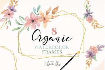Gold Frame 8 Watercolor Flowers Clipart Pretty Floral Elegant
