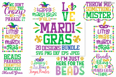 Mardi Gras SVG Bundle of 20 Designs, DXF, PNG, Cricut, Cutting Files