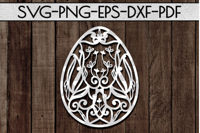 Dragon Egg Papercut Template, Easter Egg Pattern SVG, DXF, PDF