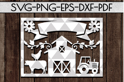 Customizable Farmhouse Papercut Template, Farm Decor Laser Cut DXF, PD