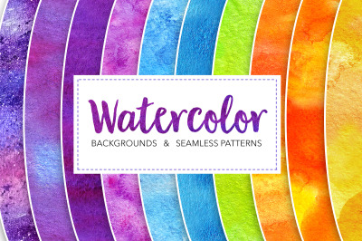 Multicolored watercolor backgrounds and seamless patterns