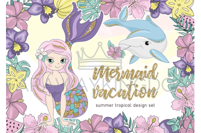 MERMAID VACATION Glitter Cartoon Vector Illustration Set for Print