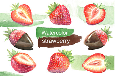 Watercolor strawberry. Dessert