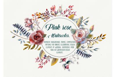 Pink rose. Watercolor. Set of flowers, leaves and berries.