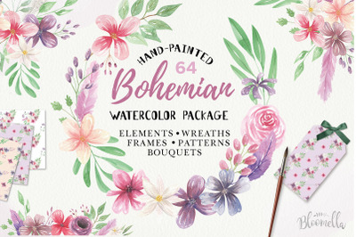 Watercolour Clipart Bohemian Floral Wedding Boho Flowers Wreaths Kit