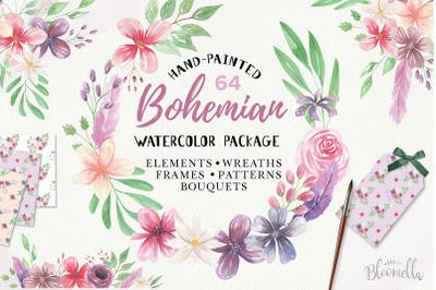Watercolour Clipart Bohemian Floral Wedding Boho Flowers Wreaths Kit