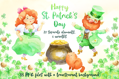 Leprechauns. Patrick's Day watercolor set