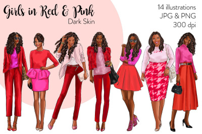 Watercolor Fashion Clipart - Girls in Red and Pink - Dark Skin