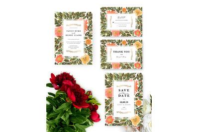 Hand painted Flowers Wedding Invitation, Printable Invitation