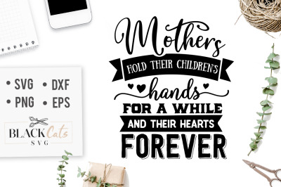 Mothers hold their children's hands SVG