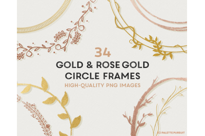 Gold & Rose Gold Circle Frames Wreath Clip Art