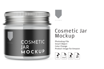Cosmetic Glass Jar Mockup 3
