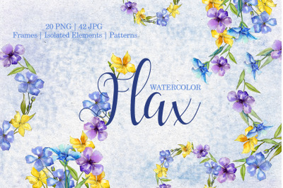 Flax Blue and yellow fowers Watercolor png