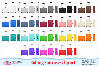 Colorful Rolling Luggage clipart