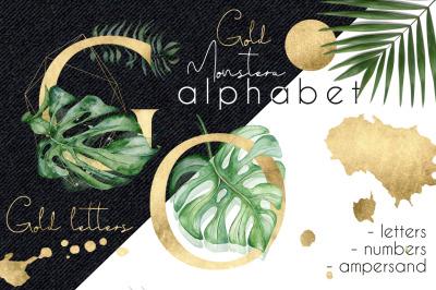 Gold Monstera - tropical leaves alphabet