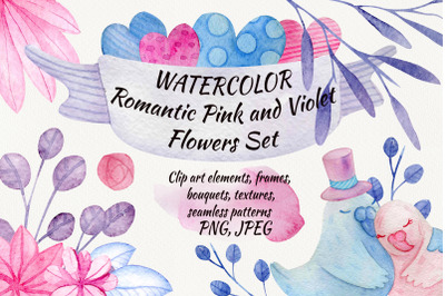 Watercolor Romantic Set. Clip art, patterns, frames, textures PNG, JPG