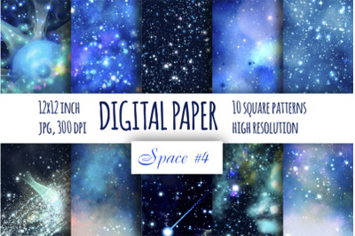 Blue galaxy digital paper. Starry sky background