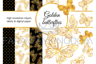 GOLDEN BUTTERFLIES Digital Paper Frame Label Collection for Print