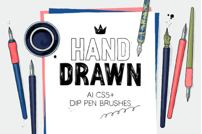 AI hand drawn dip pen brushes