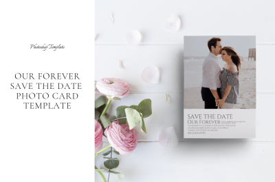 Our Forever Save The Date Photo Card Template