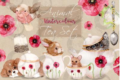 Animal Tea Set   8 Watercolor Clip Art Illustrations   PNG/JPG