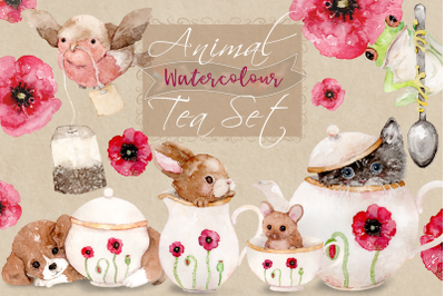 Animal Tea Set | 8 Watercolor Clip Art Illustrations | PNG/JPG