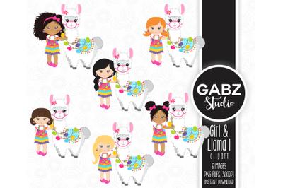 Girl and Llama Clip art