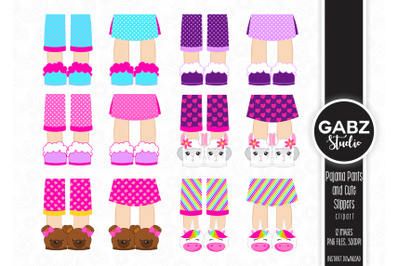 Pajama Pants and Cute Slippers Clipart