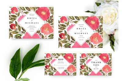 Vibrant Flowers Wedding Invitation, Printable Invitation, Watercolor F