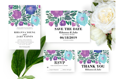 Vibrant Flowers Wedding Invitation, Printable Invitation