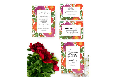 Lovely Flowers Wedding Invitation, Printable Invitation