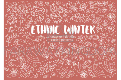 ETHNIC WINTER Decorative Pattern Vector Illustration Set For Print