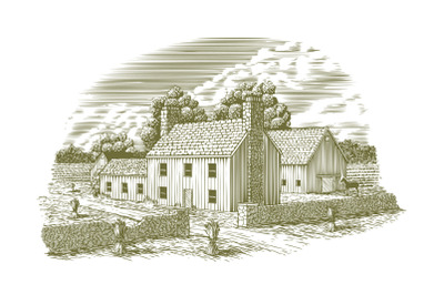 Woodcut English Farmhouse