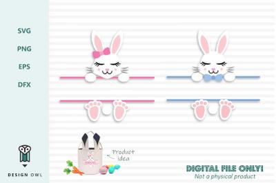 Easter bunny name / monogram frame - SVG file
