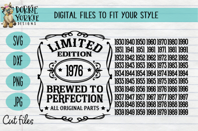 Brewed to Perfection Limited Edition -Milestone - Birthday -  SVG Cut