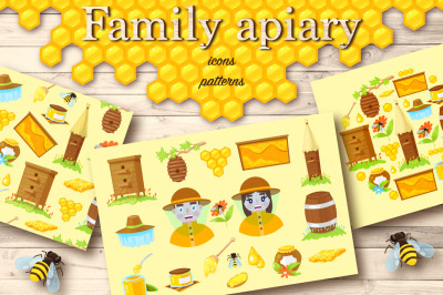 Apiary.Cartoon icons,patterns,cards.