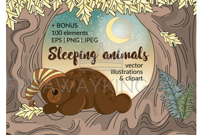 SLEEPING ANIMALS Forest Cartoon Vector Illustration Set for Print