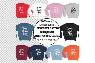 Sweatshirt Mockup PNG Bundle, Transparent Background Gildan 18000