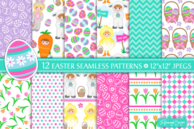 Easter digital papers, easter patterns, spring - P36