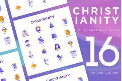 Christianity | 16 Flat Gradient Icons Set
