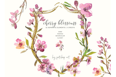 Hand Painted Watercolor Cherry Blossoms Clipart - Wedding Decor