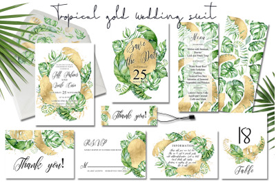 Tropical gold wedding invitation suit